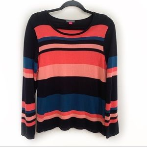 Vince Camuto Cotton Blend Striped Sweater